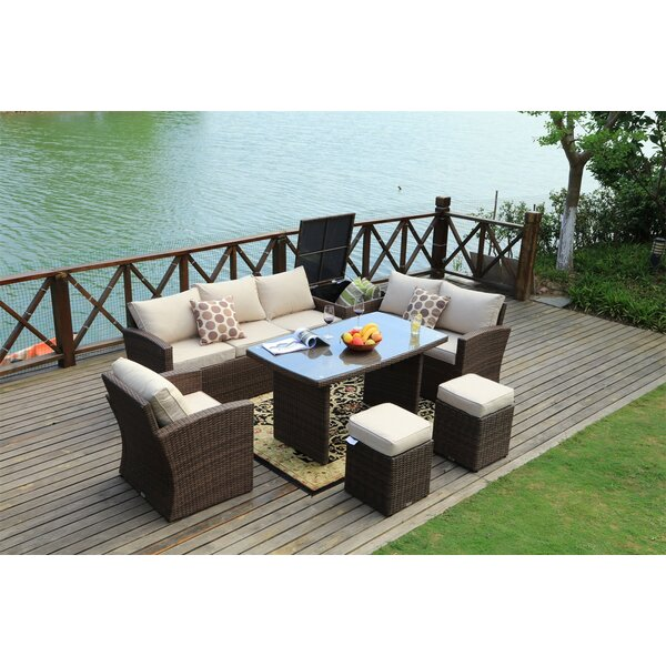 Direct Outdoor 7 Piece Rattan Sofa Seating Group with Cushions by Latitude Run