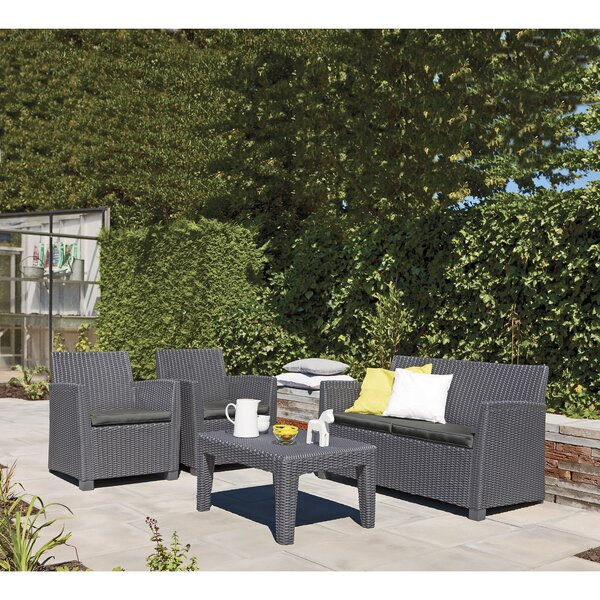 Venetta 4 Piece Sofa Set with Cushions by Longshore Tides