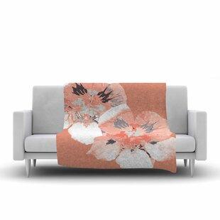 Check Prices Love Midge Graphic Flower Nasturtium Floral Fleece Blanket ByEast Urban Home