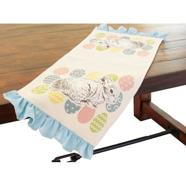 Bunny Eggs Printed Applique Jute Easter Table Runner by Xia Home Fashions
