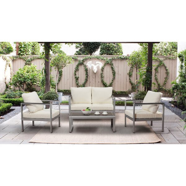 Bruford Outdoor 4 Piece Sofa Seating Group with Cushions by Orren Ellis Orren Ellis