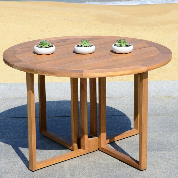 Marino Folding Solid Wood Dining Table by Rosecliff Heights