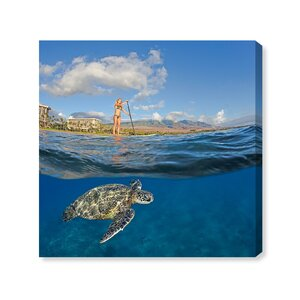 'Sea Turtle and Woman' Photographic Print on Wrapped Canvas by Art Remedy