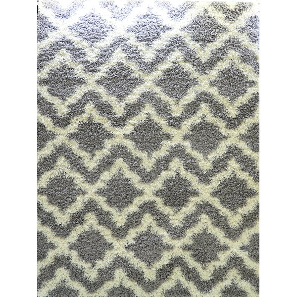 Gerson Shaggy Light Gray/Cream Area Rug by Ivy Bronx