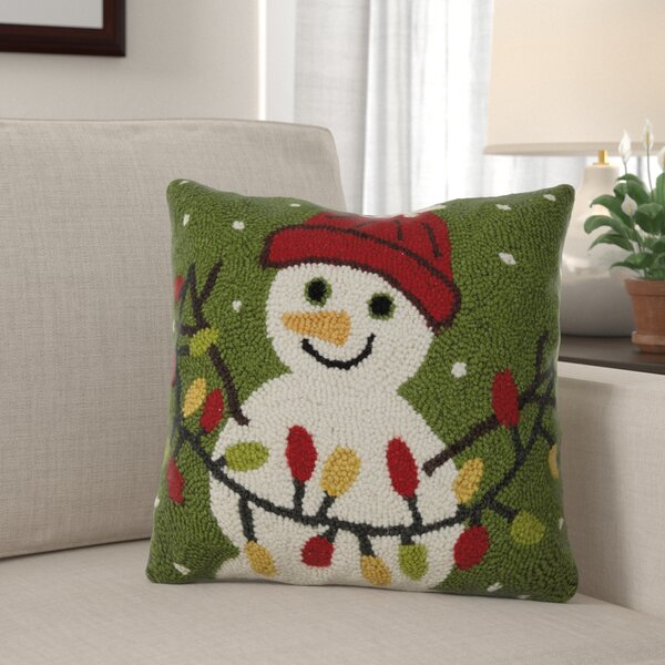 Fremont Snowman Christmas Light Hook Wool Throw Pillow by The Holiday Aisle