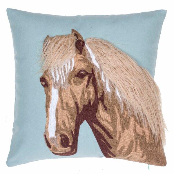 Horse Crewel Stitch Cotton Throw Pillow By 14 Karat Home Inc..