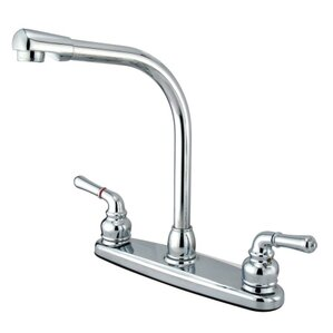 Elements of Design High Arch Double Handle Centerset Kitchen Faucet with Magellan Lever Handles