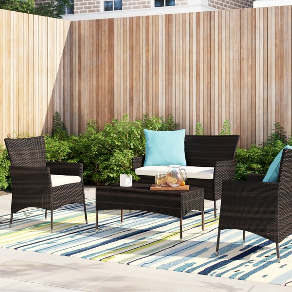 Alcibiades 4 Piece Deep Sofa Seating Group with Cushions by Mercury Row