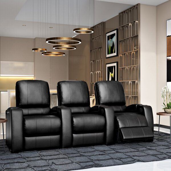 Lounger Leather Home Theater Row Seating (Row Of 3) By Orren Ellis