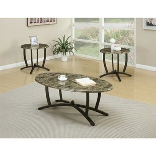 Guide to buy Caneadea Metallic 3 Piece Coffee Table Set With Oval Marble Top By Fleur De Lis Living