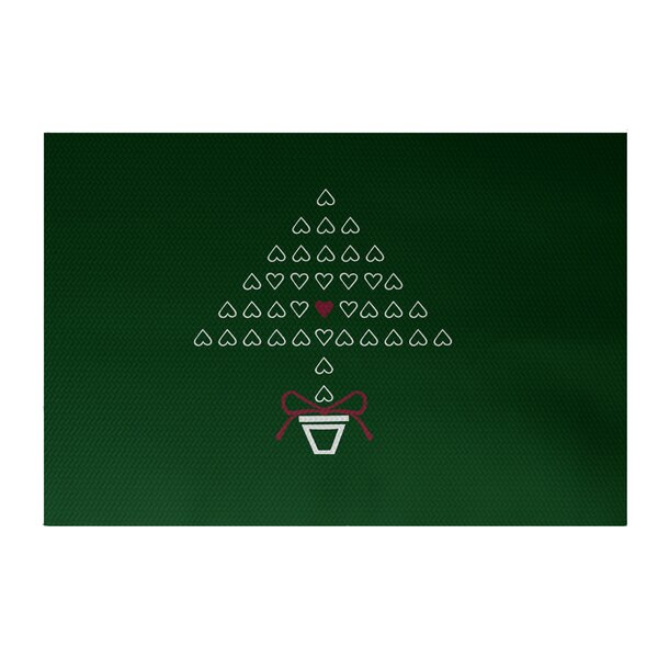 Hearty Holidays Decorative Holiday Print Dark Green Indoor/Outdoor Area Rug by The Holiday Aisle