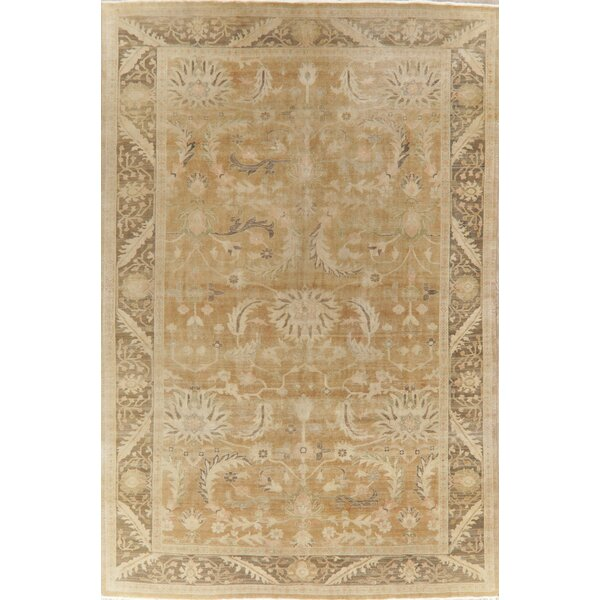 One-of-a-Kind Sipos Hand-Knotted Oushak Brown 8'10 x 12'3 Wool Area Rug