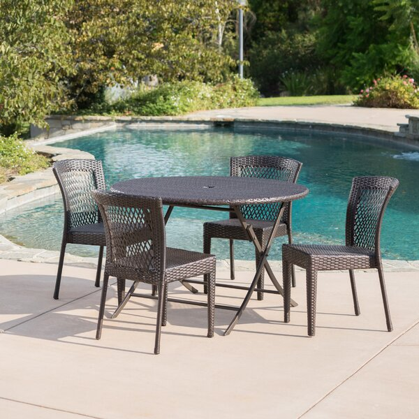 Shantay Outdoor Wicker 5 Piece Dining Set by Orren Ellis