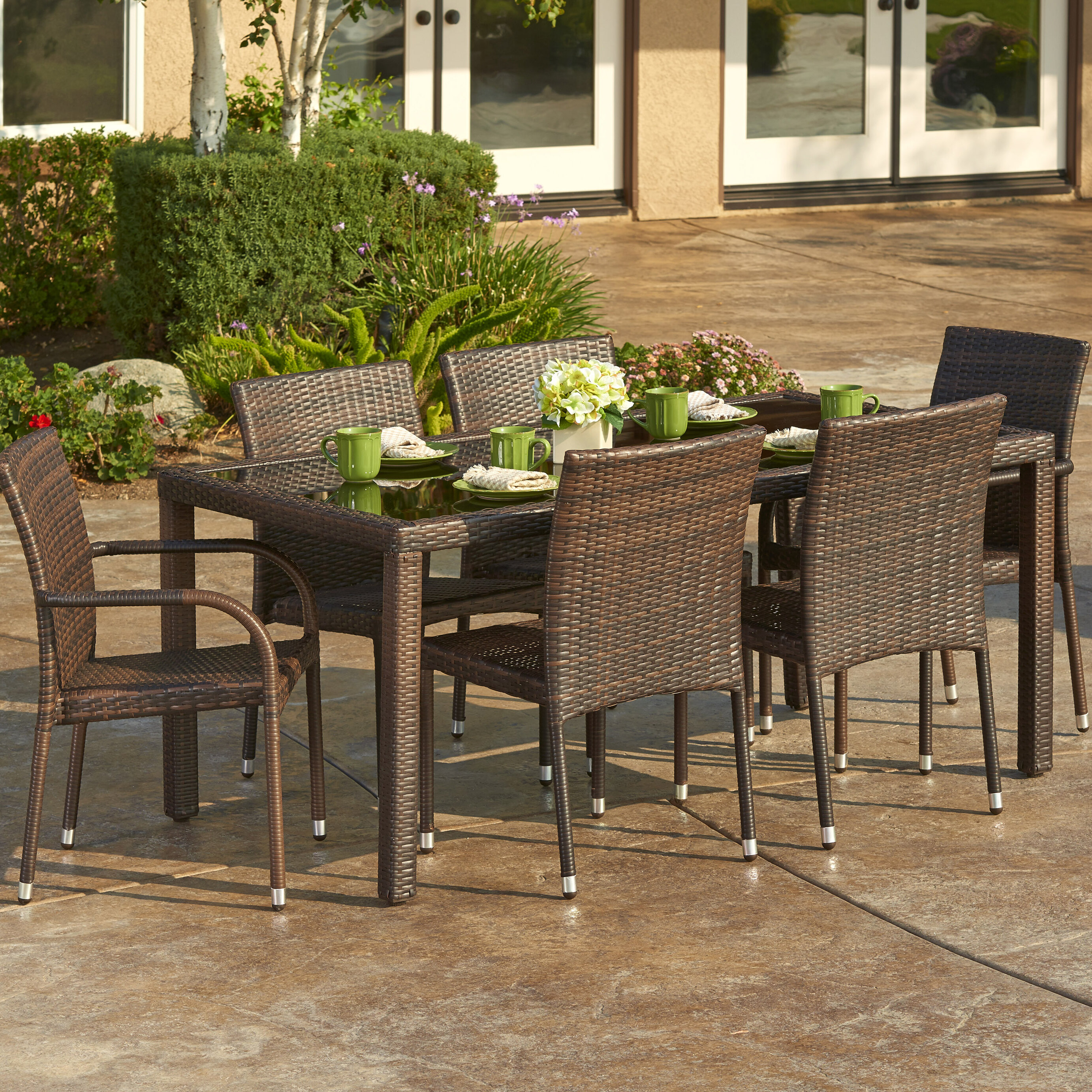 Delicieux W Unlimited 7 Piece Outdoor Wicker Dining Set | Wayfair