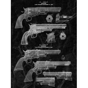 'Gun Revolver Blueprint' Vintage Advertisement on Wrapped Canvas by Buy Art For Less