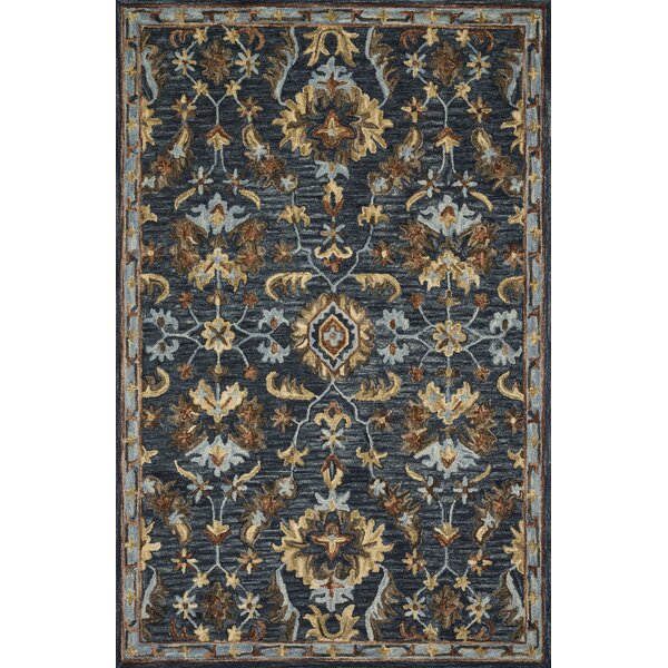 Watertown Hand-Hooked Wool Denim Area Rug by Canora Grey
