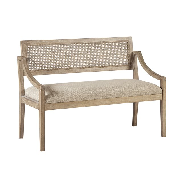 Deleon Cane Arm Wood Bench by Bungalow Rose