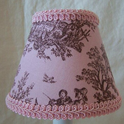Jamestown 7 H Fabric Empire Lamp shade ( Screw on ) in Pink/Brown