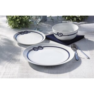 Makaila Nautical Ropes 12 Piece Dinnerware Set Service for 4  sc 1 st  Wayfair & Nautical Dinnerware | Wayfair