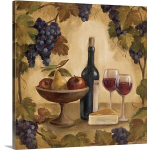 'Wine and Cheese I' by Silvia Vassileva Painting Print on Canvas by Canvas On Demand