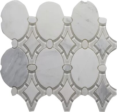 Arabescato Antique P. Wall 12 x 12 Glass Mosaic Tile in White Clear by Seven Seas