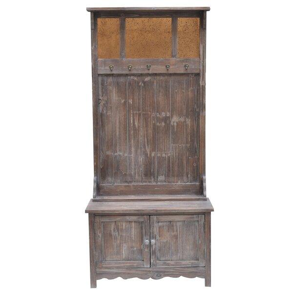 Rustic 2 Door Antique Mirror Hall Tree by Crestview Collection