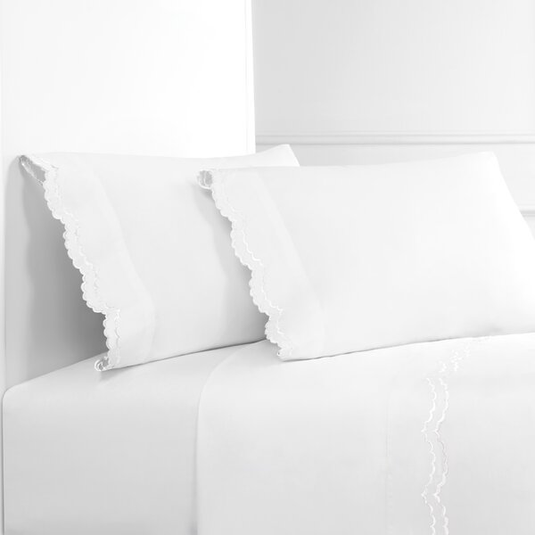 Brandt Double Scalloped Embroidered 300 Thread Count Percale Sheet Set by Eider & Ivory