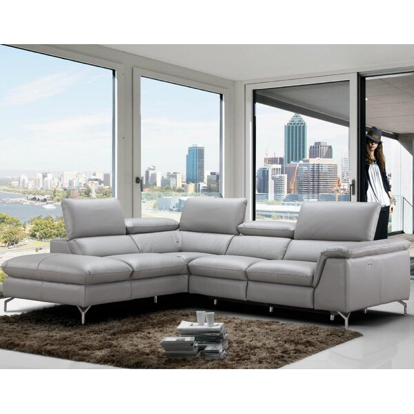 Shop The Best Selection Of Dupont Leather Reclining Sectional by Wade Logan by Wade Logan