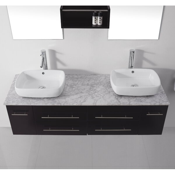 Canadice 60 Double Bathroom Vanity Set with White Marble Top and Mirror by Zipcode Design