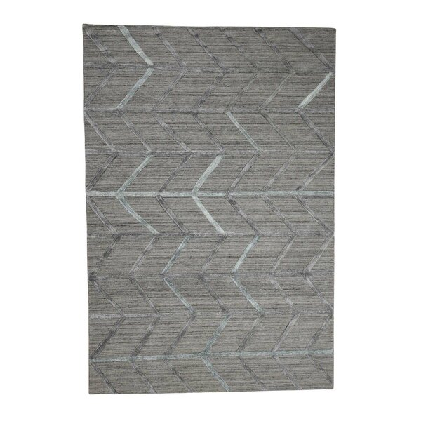 One-of-a-Kind Nealy Modern Arrow Hand-Knotted Silk Gray Area Rug by Williston Forge