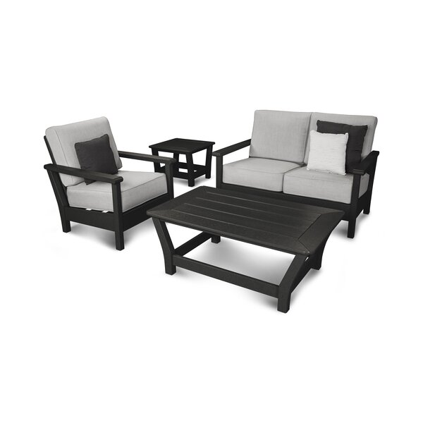 Harbour 4 Piece Sunbrella Sofa Set with Cushions by POLYWOOD®