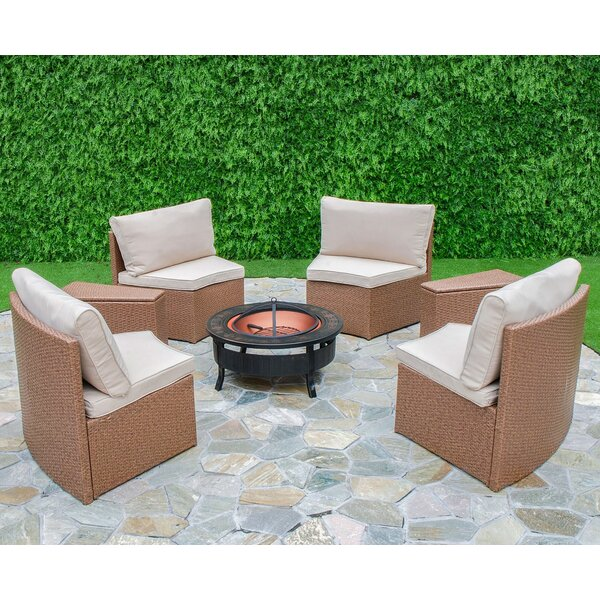 Mendon 6 Piece Rattan Conversation Set with Cushions by Bay Isle Home