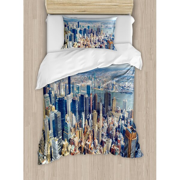 Modern Aerial View of Manhattan Skyline High Skyscrapers Business Center USA Landscape Duvet Set by Ambesonne