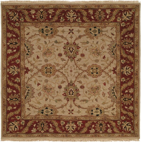 Hand-Knotted Beige/Red Area Rug by Meridian Rugmakers