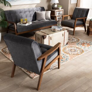 Dehaan Mid-Century 3 Piece Living Room Set by George Oliver