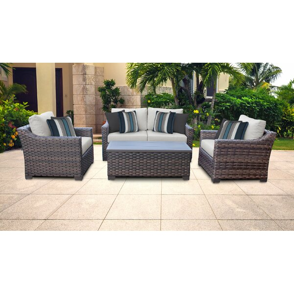 River Brook 5 Piece Outdoor Rattan Sofa Seating Group with Cushions by kathy ireland Homes & Gardens by TK Classics