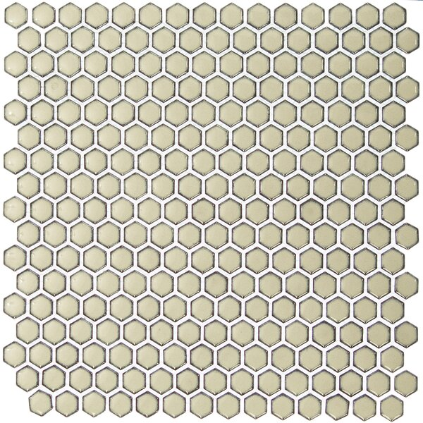 Bliss 0.6 x 0.6 Ceramic Mosaic Tile in Khaki by Splashback Tile