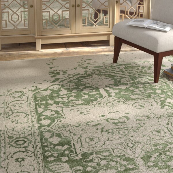 Angeles Hand Tufted Wool Green/Gray Area Rug by Bungalow Rose