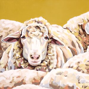 'Sheepish' by Emily Drummond Print of Painting on Canvas by GreenBox Art