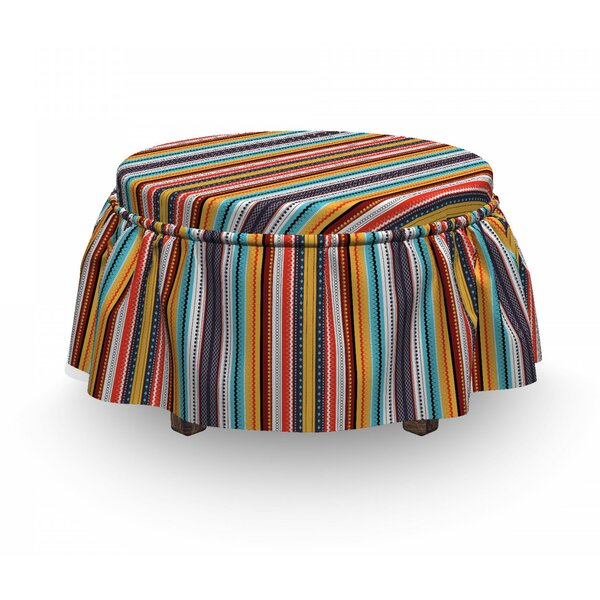 Vertical Stripes Ottoman Slipcover (Set Of 2) By East Urban Home