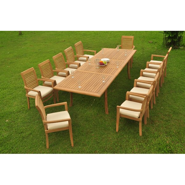 Houon 13 Piece Teak Dining Set by Rosecliff Heights
