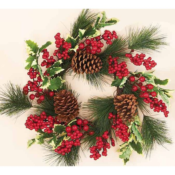 Waterproof Holly Pine Berry Wreath by Worth Imports