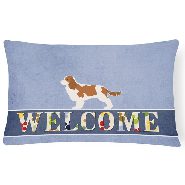 Eakins Cavalier King Charles Spaniel Welcome Lumbar Pillow by Red Barrel Studio