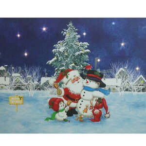 'Santa Claus with Snowmen' Battery Operated LED Lighted Graphic Art on Canvas by The Holiday Aisle