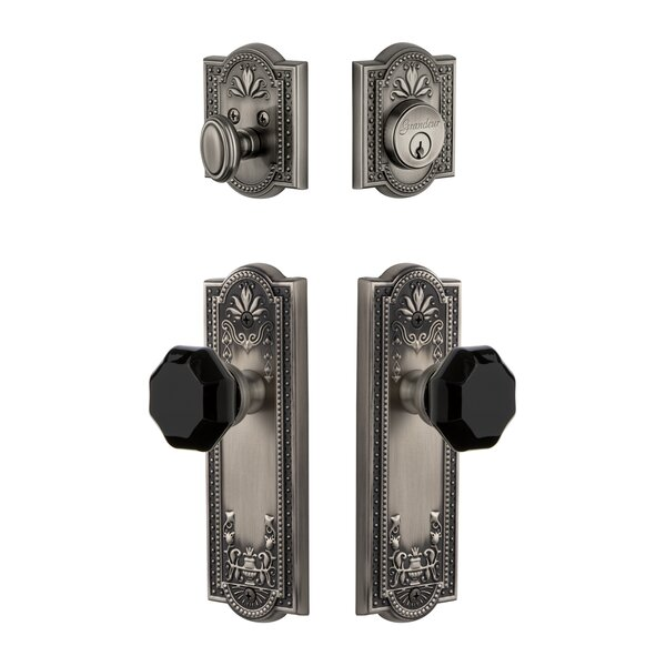Parthenon Plate Single Cylinder Knob Combo Pack with Lyon Knob and matching Deadbolt by Grandeur