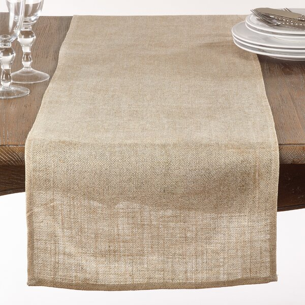 Eslinger Classic Metallic Burlap Table Runner by August Grove