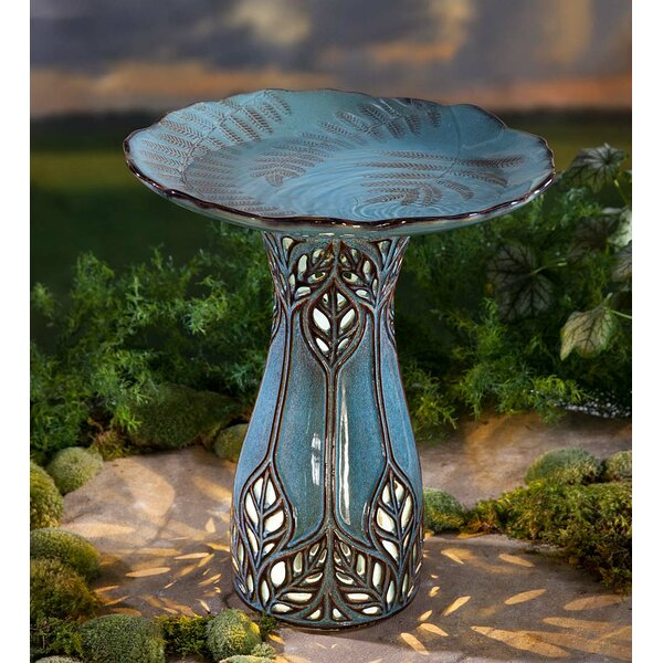 Ceramic Fern Lighted Birdbath by Wind & Weather