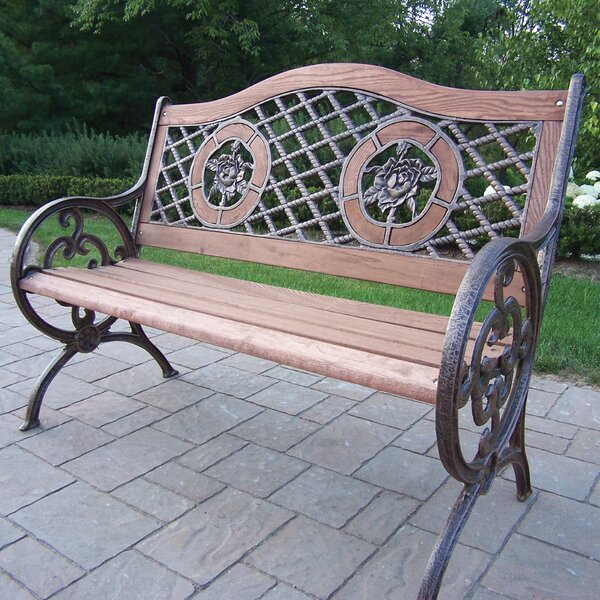 Rose Double Wood and Cast Iron Park Bench by Oakland Living