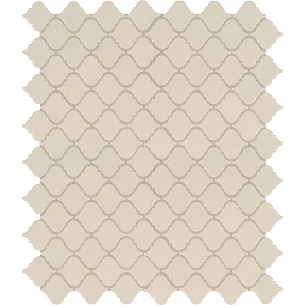 Domino Arabesque Mesh Mounted Porcelain Mosaic Tile in Almond by MSI