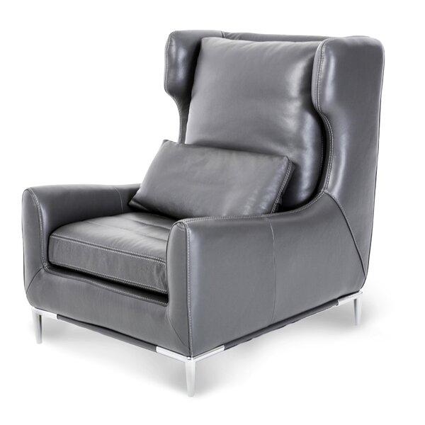 Mia Bella Lazzio Leather Wingback Chair by Michael Amini